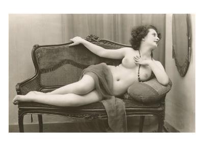 Semi-nude Woman on Cane Divan Looking in Mirror--Art Print