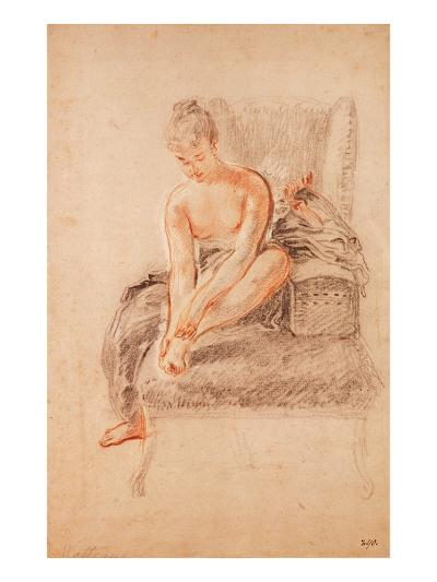 Semi-Nude Woman Seated on a Chaise Longue, Holding Her Foot (Sanguine and Black Chalk on Paper)-Jean Antoine Watteau-Giclee Print