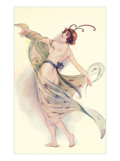 Semi-Nude Woman with Butterfly Antenna--Art Print