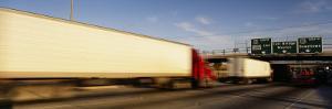 Semi-Trucks on a Highway, Laredo, Texas, USA