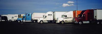 Semi-Trucks Parked on a Road, Ohio, USA--Photographic Print