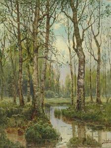 A Stream Running Through a Birch Wood by Semyon Fedorov