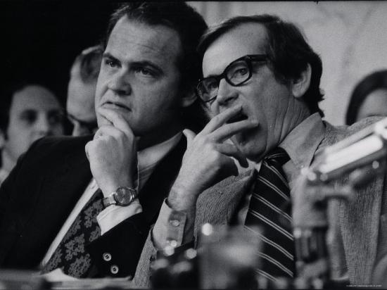 Sen. Howard Baker, Minority Counsel Fred Thompson Listening During Watergate Hearings-Gjon Mili-Premium Photographic Print