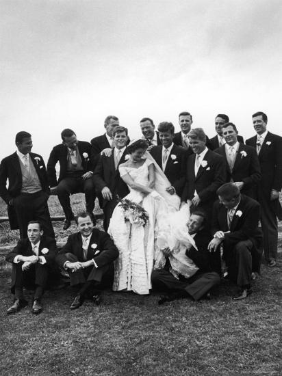 Sen. John F. Kennedy and His Bride Jacqueline Posing with 14 Ushers from Their Wedding Party-Lisa Larsen-Photographic Print