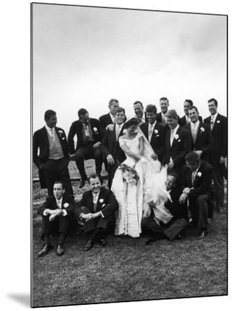 Sen. John F. Kennedy and His Bride Jacqueline Posing with 14 Ushers from Their Wedding Party-Lisa Larsen-Mounted Photographic Print