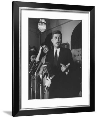 Sen. John F. Kennedy and His Wife Speaking-Ed Clark-Framed Photographic Print