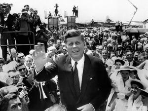 Sen John Kennedy Arrives at Los Angeles International Airport for the 1960 Democratic Convention