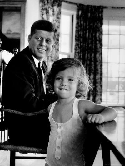 Sen. John Kennedy with Daughter Caroline After Democratic Party Named Him 1960 Pres. Candidate-Alfred Eisenstaedt-Photographic Print