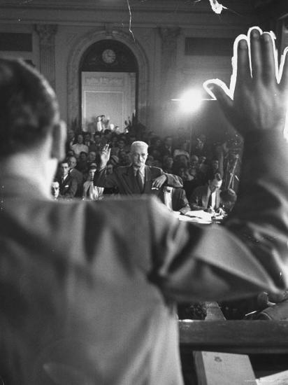 Sen. Joseph McCarthy Swearing in Hearing on Communisn where Hammet Suspected of Being a Communist-Hank Walker-Premium Photographic Print