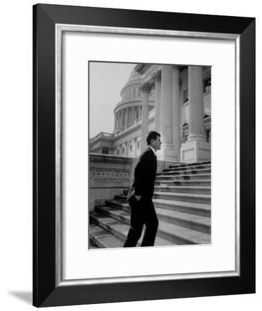 Senator Edward M. Kennedy Walking Up Steps of Senate Wing-John Dominis-Framed Photographic Print