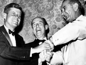 Senator John F. Kennedy, Adlai Stevenson, Senate Majority Leader Lyndon Johnson, 1960