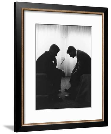 Senator John F Kennedy Conferring with His Brother and Campaign Organizer Bobby Kennedy--Framed Premium Photographic Print