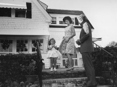 Senator John F. Kennedy with Wife Jackie and Daughter Caroline at Family Summer Home-Paul Schutzer-Photographic Print