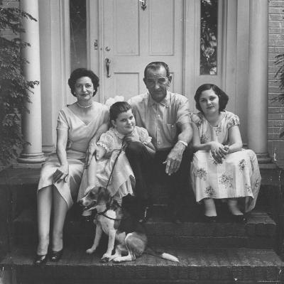 Senator Lyndon B. Johnson with His Family on the Front Steps of Their Home-Ed Clark-Photographic Print