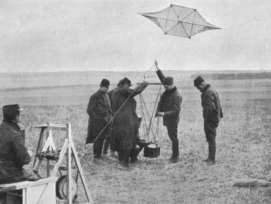 'Sending up one of the French war kites, to which a camera is attached', 1914, (1915)-Unknown-Photographic Print