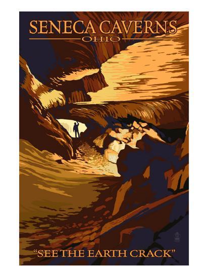 Seneca Canverns, Ohio - See the Earth Crack-Lantern Press-Art Print