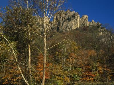Seneca Rocks with Trees in Autumn Hues-Raymond Gehman-Photographic Print