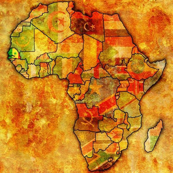 Senegal on Actual Map of Africa Art Print by michal812   Art.com on
