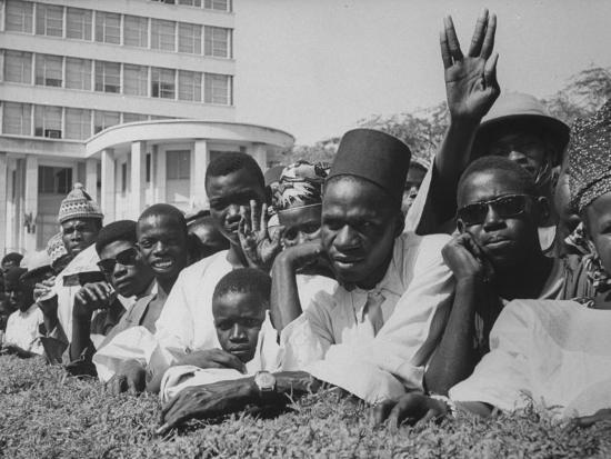 Senegalese Awaiting Arrival of US VP Lyndon Johnson to Celebrate First Year of their Independence-Hank Walker-Photographic Print