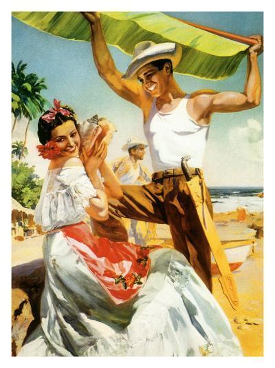 Señorita on Beach with Banana Leaf--Giclee Print