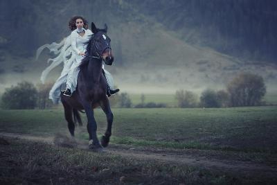 Sensual Young Beauty Riding a Horse-conrado-Photographic Print