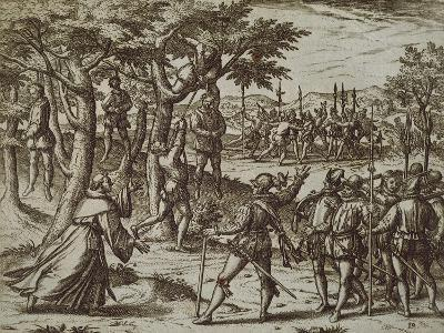 Sentence to Hanging of Some Men of Christopher Columbus in New World, 1590-Theodore de Bry-Giclee Print