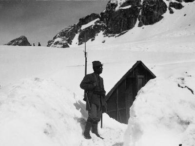 Sentry Guard at an Elevation of 3000 Meters on Adamello During World War I-Ugo Ojetti-Photographic Print