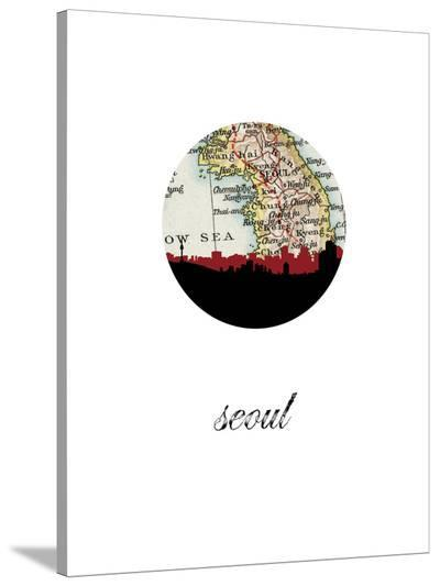 Seoul Map Skyline-Paperfinch 0-Stretched Canvas Print