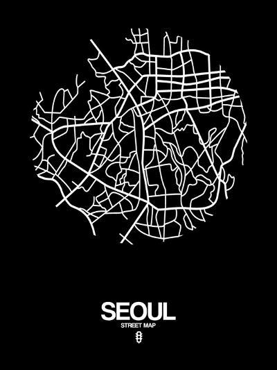 Seoul Street Map Black-NaxArt-Art Print
