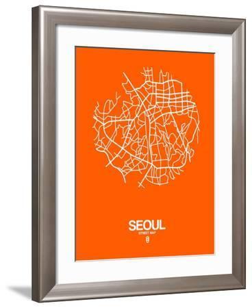 Seoul Street Map Orange-NaxArt-Framed Art Print