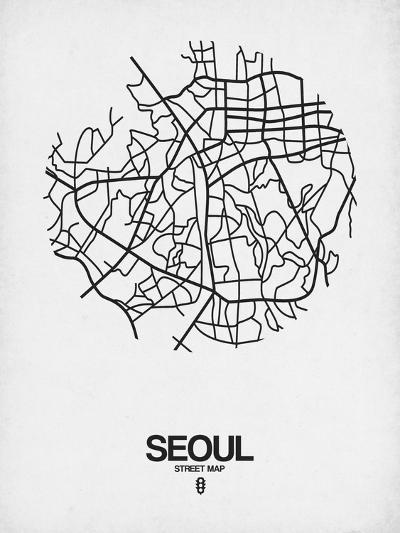 Seoul Street Map White-NaxArt-Art Print