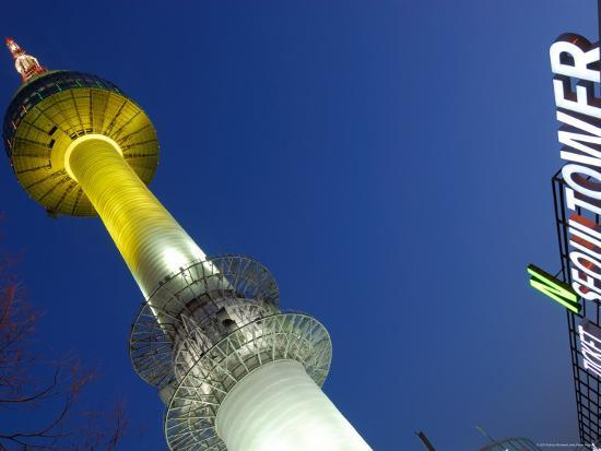 Seoul Tower with Sign at Dusk, Namsan, Seoul, Seoul, South Korea-Anthony Plummer-Photographic Print