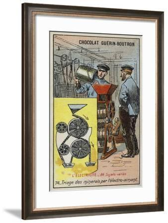 Separating Ore Using an Electromagnet--Framed Giclee Print