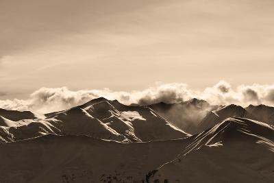 Sepia Evening Winter Mountains and Sunlight Clouds-BSANI-Photographic Print