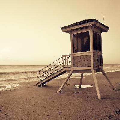 Sepia Life Guard Tower I-Jairo Rodriguez-Photographic Print