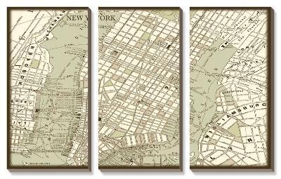 Sepia Map of New York--Canvas Art Set
