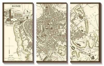 Sepia Map of Rome--Canvas Art Set