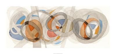 Sepia & Orange Circles-Nikki Galapon-Premium Giclee Print