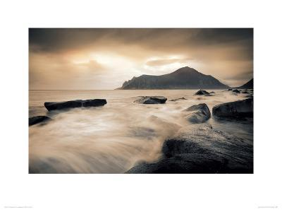 Sepia Sea, Lofoten Islands-Andreas Stridsberg-Giclee Print
