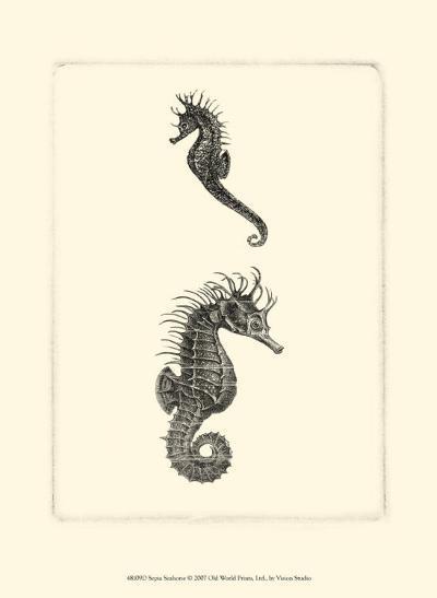 Sepia Seahorse--Art Print