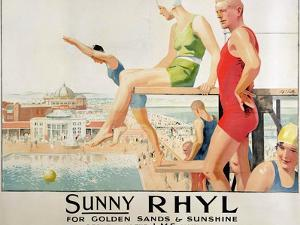 Poster Advertising Sunny Rhyl (Colour Litho) by Septimus Edwin Scott