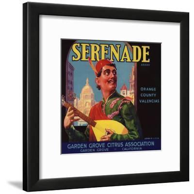 Serenade Brand - Garden Grove, California - Citrus Crate Label-Lantern Press-Framed Art Print