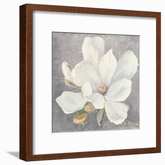 Serene Magnolia Light Gray-Julia Purinton-Framed Art Print