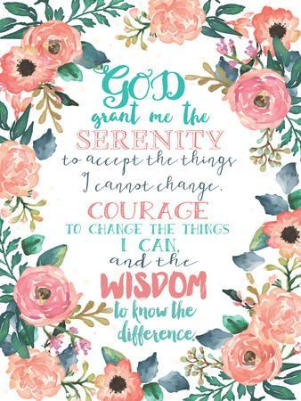 photo regarding Serenity Prayer Printable called Serenity Prayer Floral Artwork Print by way of Jo Moulton