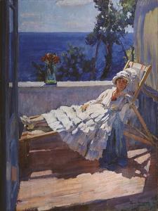 A Lady on the Balcony, 1916 by Sergei Arsenyevich Vinogradov