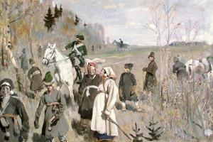 Hunting at the Time of the Tsar Peter the Great, 1907 by Sergei Arsenyevich Vinogradov