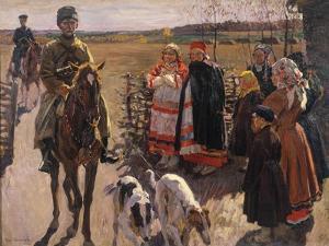 Huntsmen with Borzois, 1913 by Sergei Arsenyevich Vinogradov