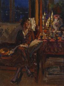 Lady with Book in an Interior, 1917 by Sergei Arsenyevich Vinogradov