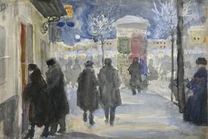 Moscow Street, 1922 by Sergei Arsenyevich Vinogradov