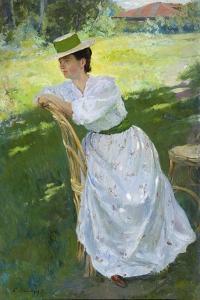 Portrait of a Woman (En Plein Ai), 1899 by Sergei Arsenyevich Vinogradov
